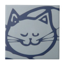Blue Happy Cat Sleeping Tile