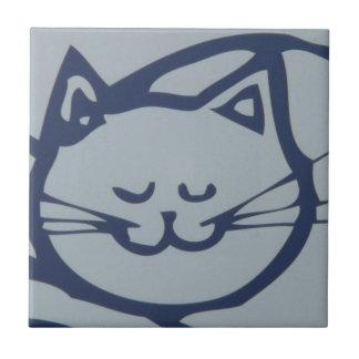 Blue Happy Cat Sleeping Tile
