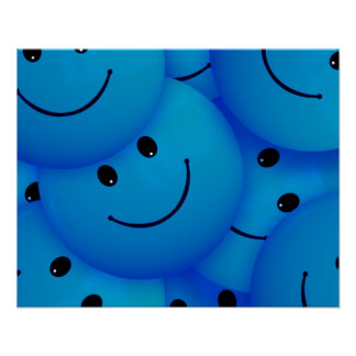 Blue Happy Face Poster Print