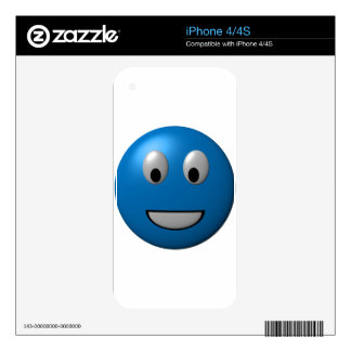 Blue Happy Face Smiley Skin For The iPhone 4