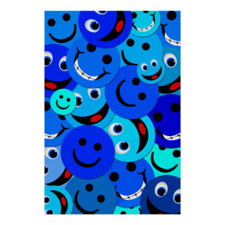 BLUE HAPPY FACES COLLAGE POSTER