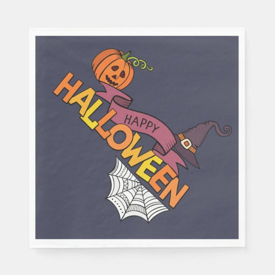 Blue Happy Halloween Greeting Napkin