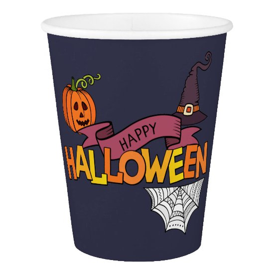 Blue Happy Halloween Greeting, Paper Cup