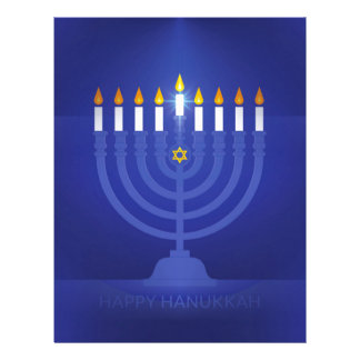 blue happy hannukah letterhead
