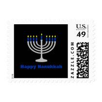 Blue Happy Hanukkah Holiday Silver Menorah Black Postage