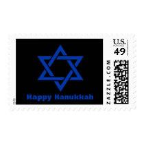 Blue Happy Hanukkah Holiday Star of David Black Postage