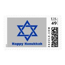 Blue Happy Hanukkah Holiday Star of David Silver Postage
