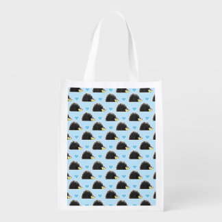 Blue Happy Hedgehog Love Pattern Grocery Bag