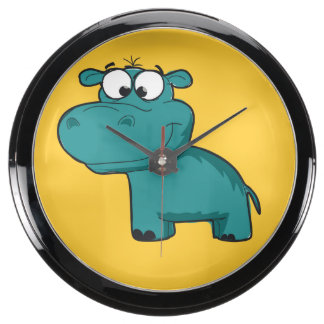 Blue Happy Hippo Aquarium Clocks