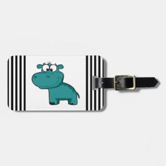 Blue Happy Hippo Luggage Tag