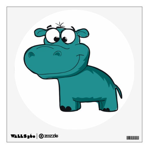 Blue Happy Hippo Wall Stickers