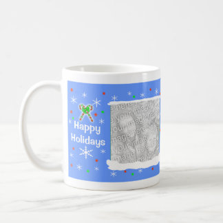 Blue Happy Holiday Snowflakes 2-Photo Frame Classic White Coffee Mug