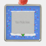 Blue Happy Holiday Snowflakes (photo frame) Ornaments
