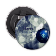 Blue Happy Holidays Button Bottle Opener