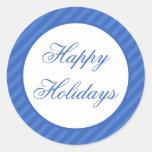 Blue Happy Holidays Christmas Envelope Seals Round Sticker
