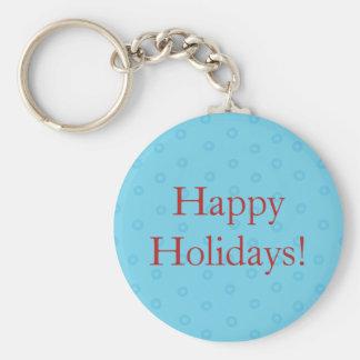 Blue Happy Holidays Christmas Key Chain w/ Text