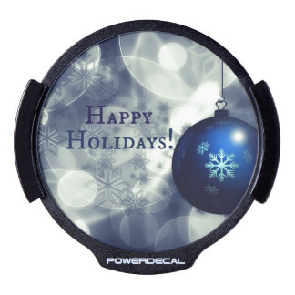 Blue Happy Holidays LED Window Decal