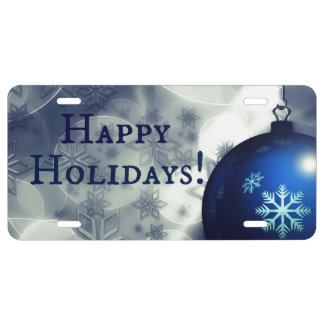 Blue Happy Holidays License Plate