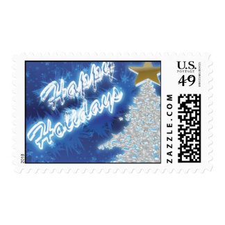 Blue Happy Holidays Postage