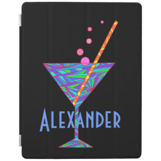 Blue Happy Hour Cocktail Glass Martini Colorful iPad Cover