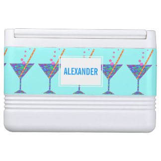 Blue Happy Hour Cocktail Glass Martini Custom Igloo Drink Cooler