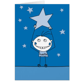 blue happy monster is catching a falling star card