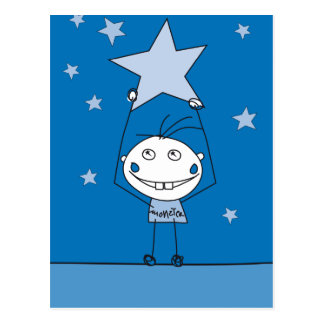 blue happy monster is catching a falling star post card