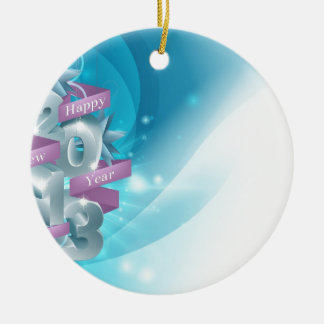 Blue Happy New Year Background Double-Sided Ceramic Round Christmas Ornament