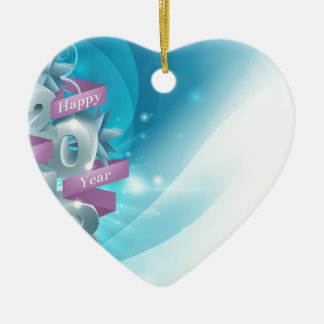 Blue Happy New Year Background Double-Sided Heart Ceramic Christmas Ornament