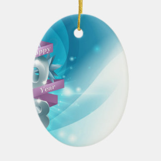 Blue Happy New Year Background Double-Sided Oval Ceramic Christmas Ornament