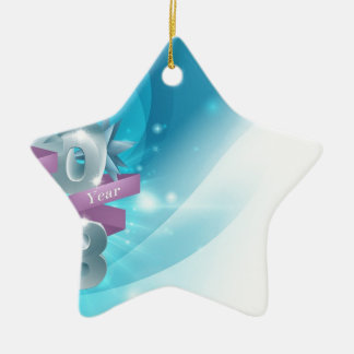 Blue Happy New Year Background Double-Sided Star Ceramic Christmas Ornament