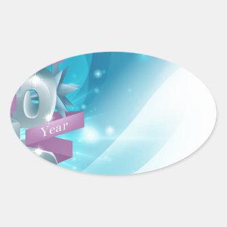 Blue Happy New Year Background Oval Sticker