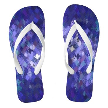Beach Themed Blue Harlequin Abstract Pattern Flip Flops