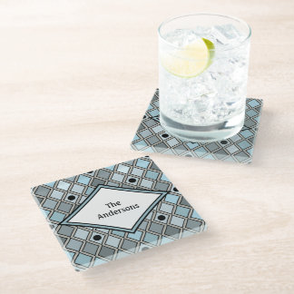Blue Harlequin Curved Diamond Personalized Glass Coaster