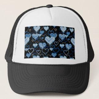 Blue harts pattern trucker hat