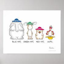 BLUE HAT, GREEN HAT, OOPS poster by Sandra Boynton