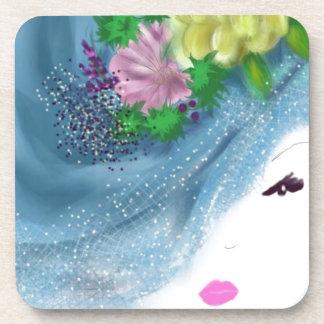 blue hat lady Brides Maid Art Coaster