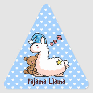 Blue Hat Pajama Llama Triangle Sticker