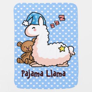 Blue Hat Pajama Llama Baby Blanket