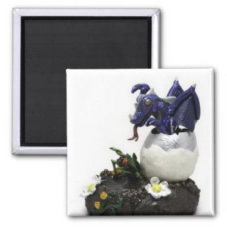 Blue hatching dragon magnet