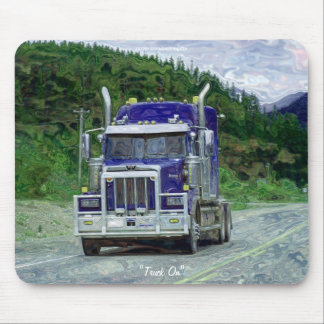 Blue Hauling Truck Highway Driving Art Mousepad