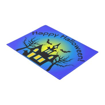 Halloween Themed Blue Haunted House and Bats Doormat