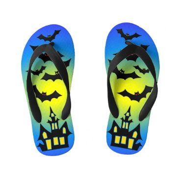 Halloween Themed Blue Haunted House and Bats Kid's Flip Flops