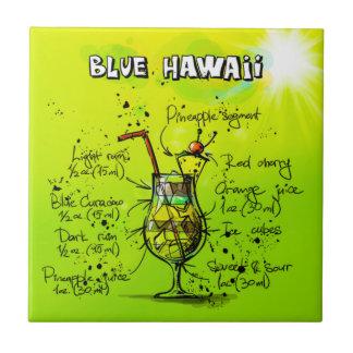 "Blue Hawaii Cocktail (4.25"" x 4.25"") Ceramic Tile"