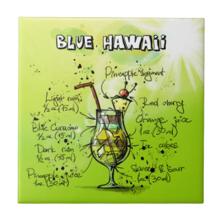 Blue Hawaii - Cocktail Gift Ceramic Tile