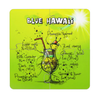 Blue Hawaii Cocktail Recipe Coaster Puzzle