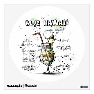 Blue Hawaii Drink Recipe Design Room Decals
