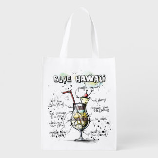 Blue Hawaii Drink Recipe Design Reusable Grocery Bag