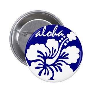 blue Hawaii flower Button