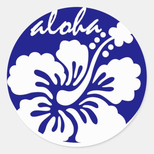 blue Hawaii flower Round Sticker